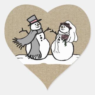 Winter Snowmen Bride & Groom Wedding Heart Sticker