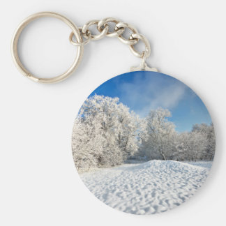Winter Snowscape Basic Round Button Key Ring