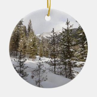 Winter Snowy Mountain Scene in Montana Round Ceramic Decoration