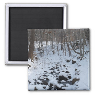 winter snowy rocks on river square magnet