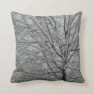winter snowy tree branches throw cushion