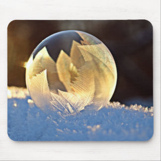 Winter Soap Bubble with Leaves Mouse Mat
