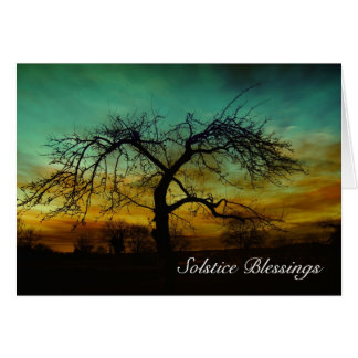 Winter Solstice blessings with tree without leaves Card