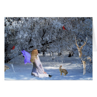 Winter Solstice Faerie with Animals in the Snow Greeting Card