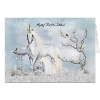 Winter Solstice Midwinter Greeting Card Unicorns