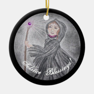 Winter Solstice Snow Maker Witch Pagan Christmas Ornament