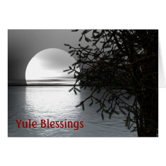 Winter Solstice Yule with moon over water Greeting Card