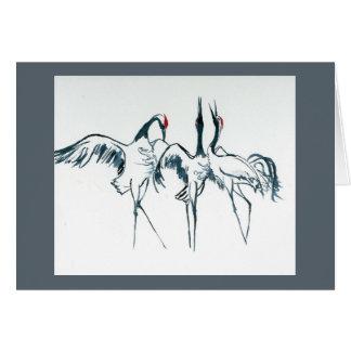 Winter Song-Manchurian Cranes.  Holiday card