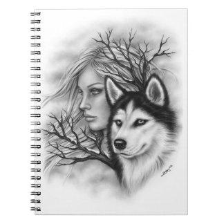 Winter Souls Wolf Husky Girl Notebook