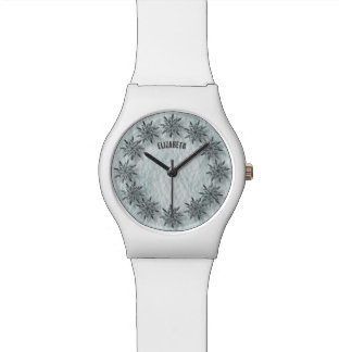 Winter Sparkling Snowflakes Clock With Shadows Watch