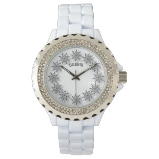 Winter Sparkling Snowflakes Clock With Shadows Wrist Watches
