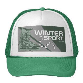 Winter Sport Gear Ski Boot Green Hat