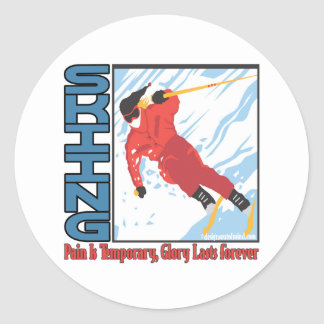 Winter Sports Classic Round Sticker