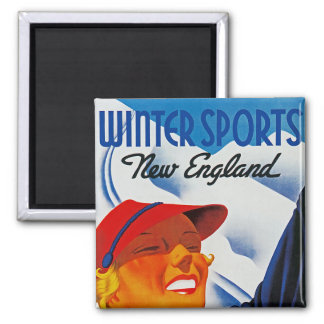 Winter Sports in New England Refrigerator Magnet