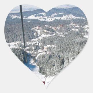 Winter sports in Piana Brasov, Romania Heart Sticker