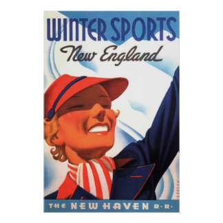 Winter Sports New England New Haven Railroad Poster
