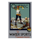 WINTER SPORTS QUEBEC TRAVEL 1930 POSTER