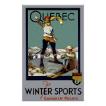 WINTER SPORTS QUEBEC TRAVEL 1930 POSTER