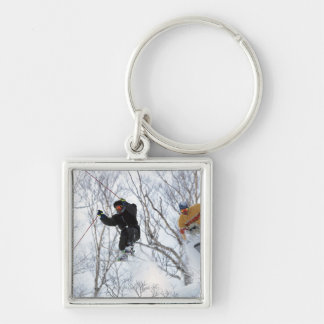 Winter Sports Silver-Colored Square Key Ring