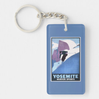 Winter Sports Skiing Promotional Poster Double-Sided Rectangular Acrylic Key Ring