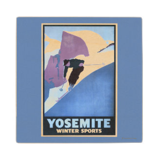 Winter Sports Skiing Promotional Poster Maple Wood Coaster