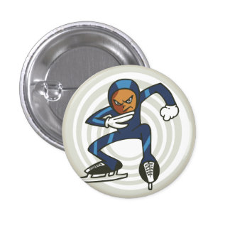 Winter Sports Speed Skater Flair Pinback 3 Cm Round Badge