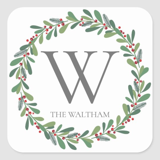 Winter Sprigs Monogram Christmas Sticker