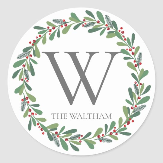 Winter Sprigs Monogram Christmas Sticker