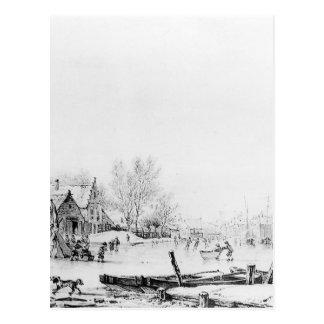 Winter Spuihaven Dordrecht by Jacob van Strij Postcard