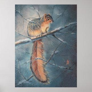 WINTER SQUIRREL by SHARON SHARPE Poster