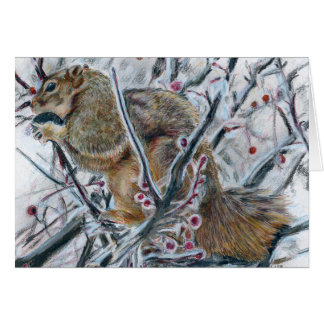 Winter Squirrel in Tree Card