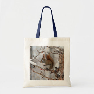 Winter Squirrel, Snow & Red Berries Xmas Design Bags