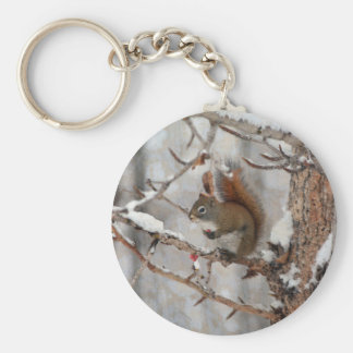 Winter Squirrel, Snow & Red Berries Xmas Design Basic Round Button Key Ring