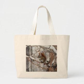 Winter Squirrel, Snow & Red Berries Xmas Design Jumbo Tote Bag