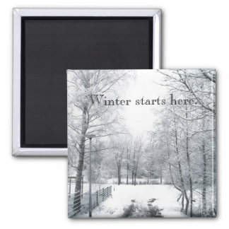Winter starts here square magnet