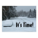 Winter Storage Snow Ploughing Car Business Postcard