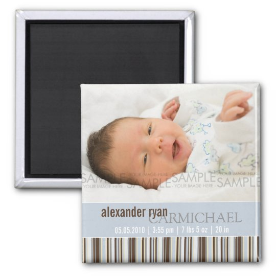 Winter Stripes Blue • Baby Announcement Square Magnet