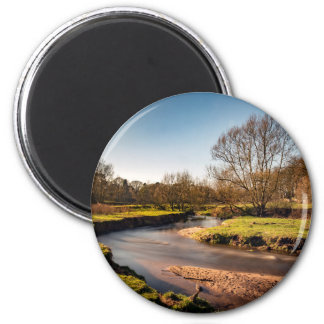 Winter Stroll Along The River Bollin 6 Cm Round Magnet