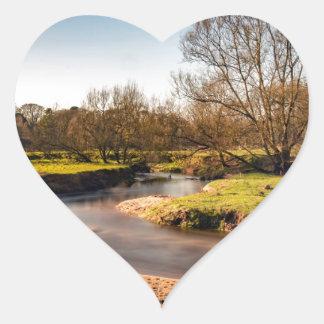 Winter Stroll Along The River Bollin Heart Sticker