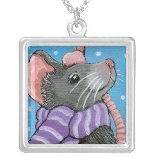 Winter Stroll Mouse Art Pendant