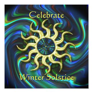 """Winter Sun Solstice Party Invitation 5.25"""" Square Invitation Card"""