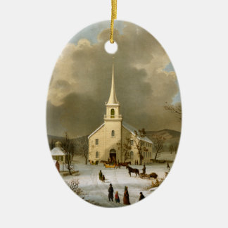 Winter Sunday in olden times Christmas Ornament