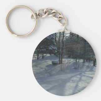 Winter Sunrise Basic Round Button Key Ring