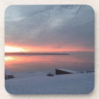 Winter sunrise beverage coaster