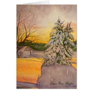 Winter Sunrise on the Farm Note Card