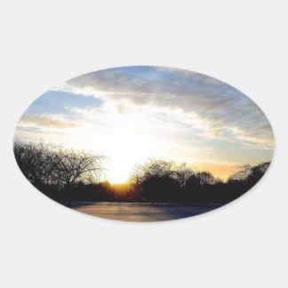 Winter Sunrise Oval Stickers