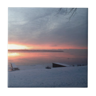 Winter sunrise small square tile