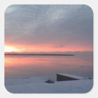 Winter sunrise square sticker