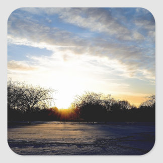Winter Sunrise Square Sticker