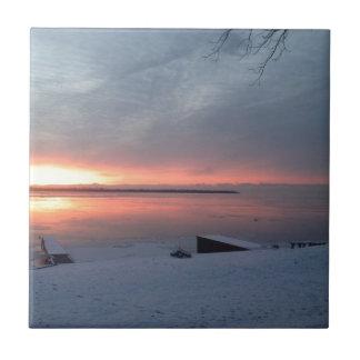 Winter sunrise small square tile